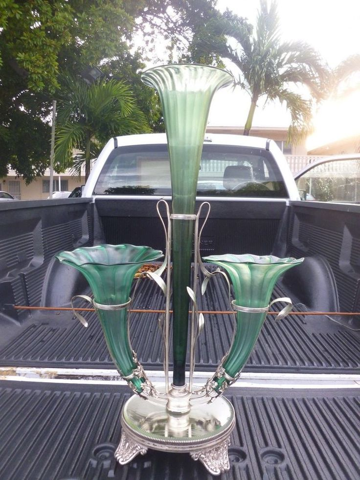 MONUMENTAL 19TH C  AESTHETIC MOVEMENT / ART NOUVEAU EPERGNE W BIG TRUMPET SHADES #CONTINENTAL