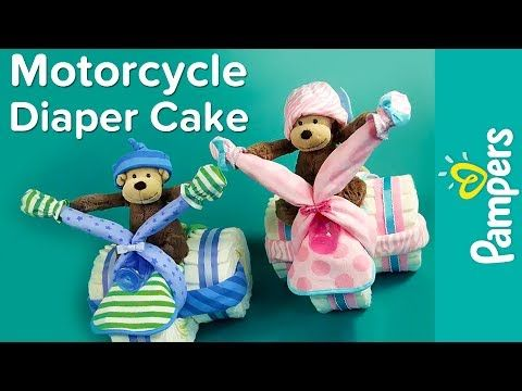 Motorcycle Diaper Cake Instructions | Pampers DIY Diaper Cake Ideas - YouTube