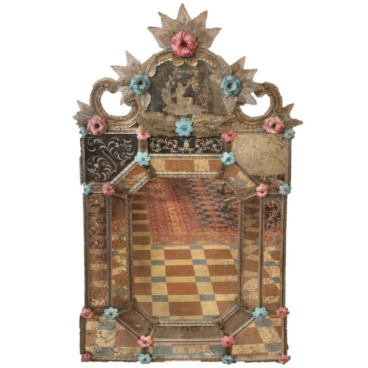 Antique Venetian Mirror | From a unique collection of antique and modern wall mirrors at https://www.1stdibs.com/furniture/mirrors/wall-mirrors/