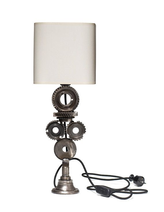 Desk lamp made of cogs Modern lamp Metalwork Home by RECONrenewed