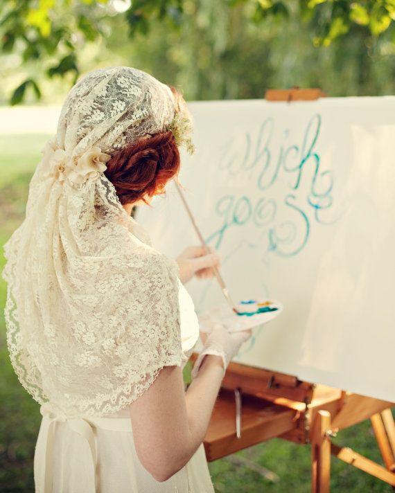 Bridal lace cap Wedding headpiece bridal hair veil by ...