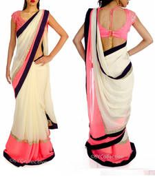 Buy pink embroidred georgette saree with blouse party-wear-saree online