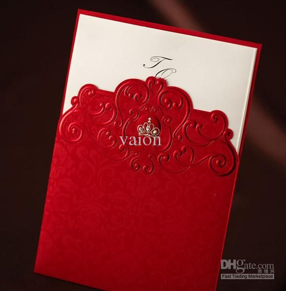 CW1046 Unique Royal Red Wedding Invitations Wedding Cards Personalized Invitations  Fast Shipping