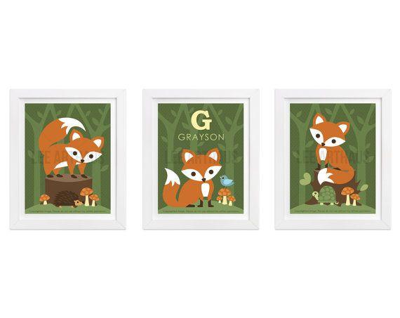 10S Fox Print  Fox Print Set with Custom Name Wall by leearthaus