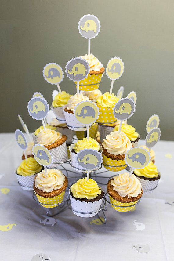 12 Baby Elephant Cupcake Toppers Little Peanut Baby Shower or ...