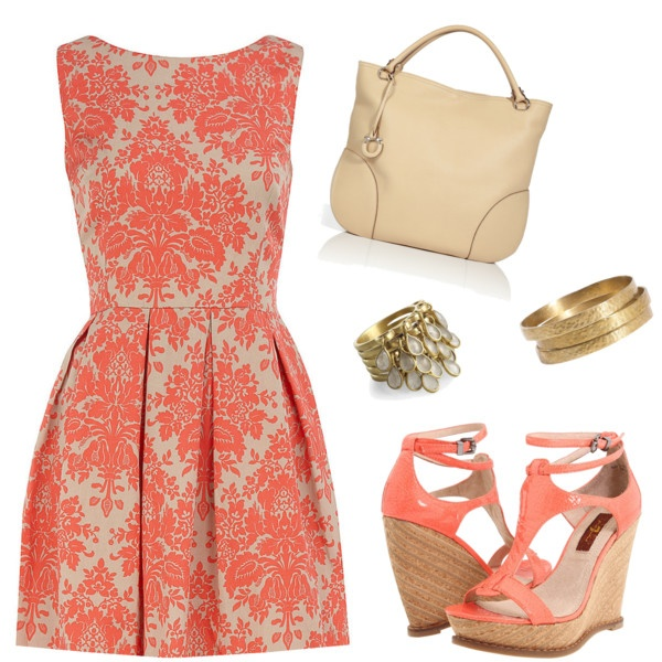 Beautiful coral print dress love everything about this for Jewelry to wear with coral dress