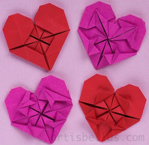 Origami Heart Flower Instructions