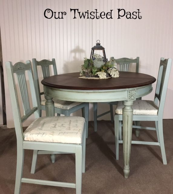 Small Scale Oval Table And 4 Chairs Shabby Chic In Annie Sloan Chalk Paint Duck Egg B Shabby Chic Kitchen Table Kitchen Table Makeover Painted Kitchen Tables