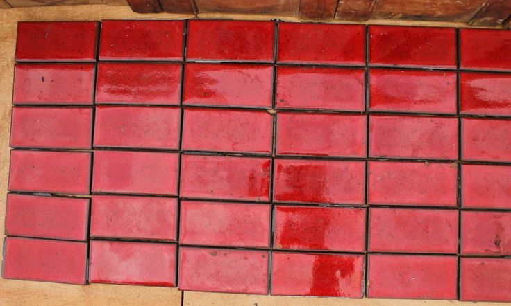48 vintage red tiles. Lot. Midcentury tile. Rectangular tile. Reclaimed tile. by FullerRoadFinds on Etsy
