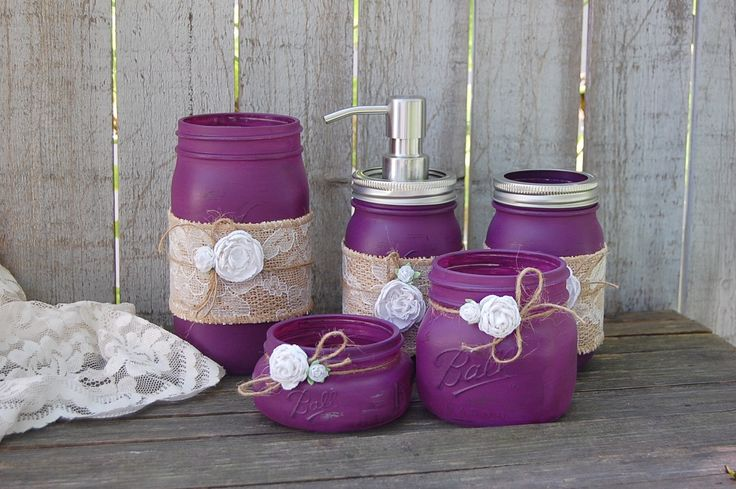 Plum mason jar bathroom set