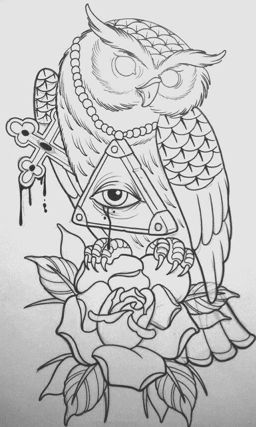 Owl Line Drawing Tattoo : Ideas sobre tatuajes de búho tradicionales en