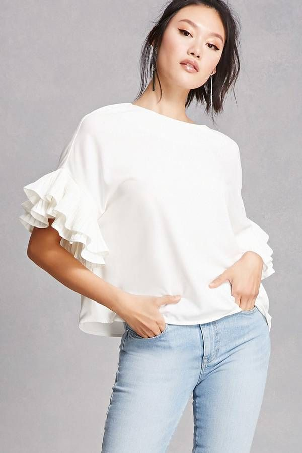 FOREVER 21+ Oversized Ruffle Sleeve Top