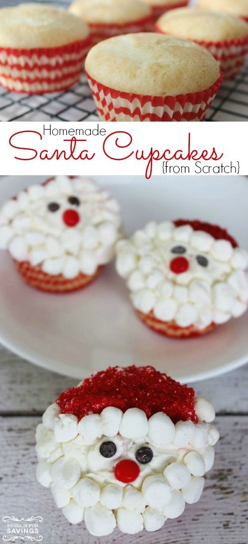 Homemade Santa Cupcakes Recipe! Fun Christmas Cupcakes for Christmas Parties or Teacher's Gifts! Kids will love this Santa Dessert!