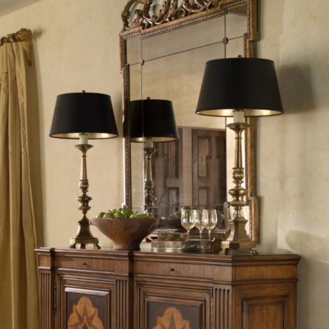 Leah antique brass buffet lamp ethan allen furniture interior design - Ethan allen buffet table ...