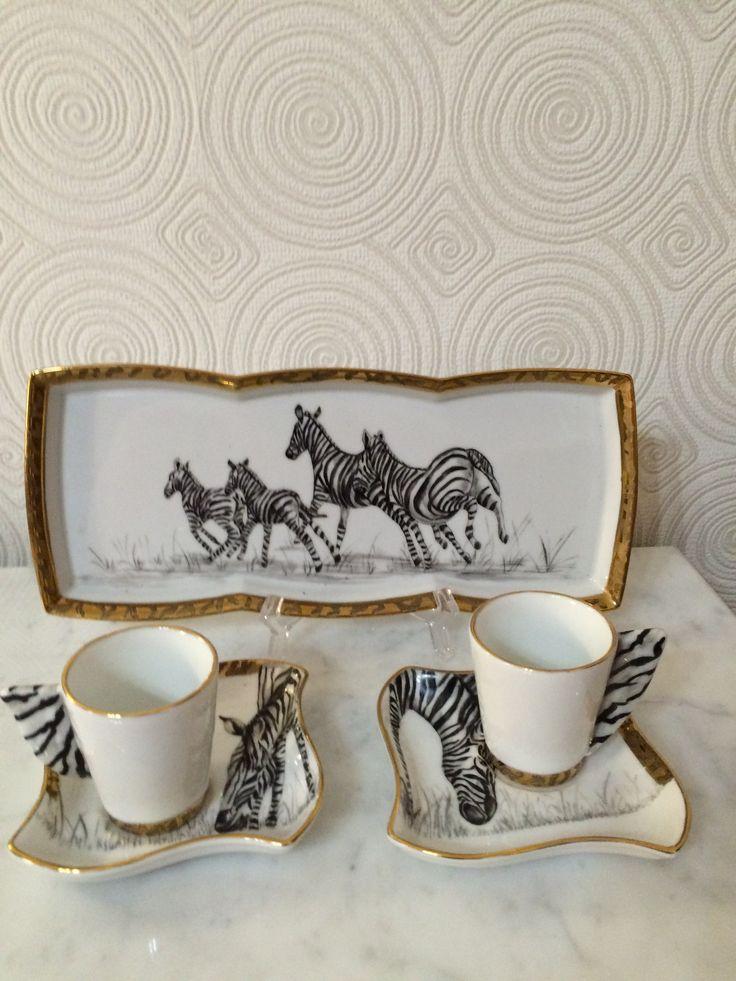 Tazze da caffè con vassoio dipinte a mano Tiziana Menturli