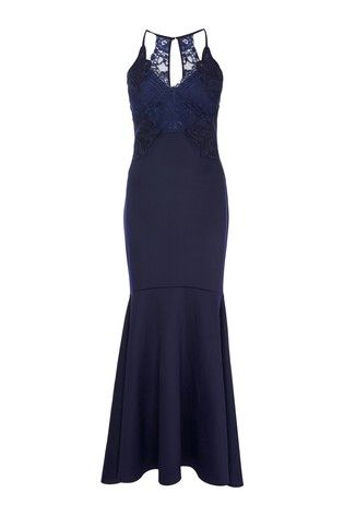 435b97b5dd145 Abbey Clancy x Lipsy Petite Applique Artwork Fishtail Hem Maxi Dress ...