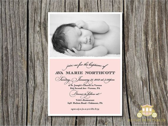 Baby Baptism Christening - Modern Photo Invitation - 5x7 Printable DIY JPEG - Baby Boy, Baby Girl, Baptism