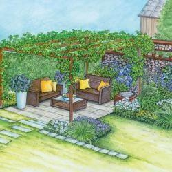 Gestaltungsidee für einen Sitzplatz unter Weinreben