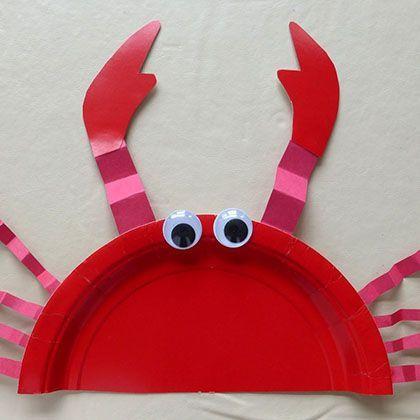 Krabbe auf Pappteller basteln.
