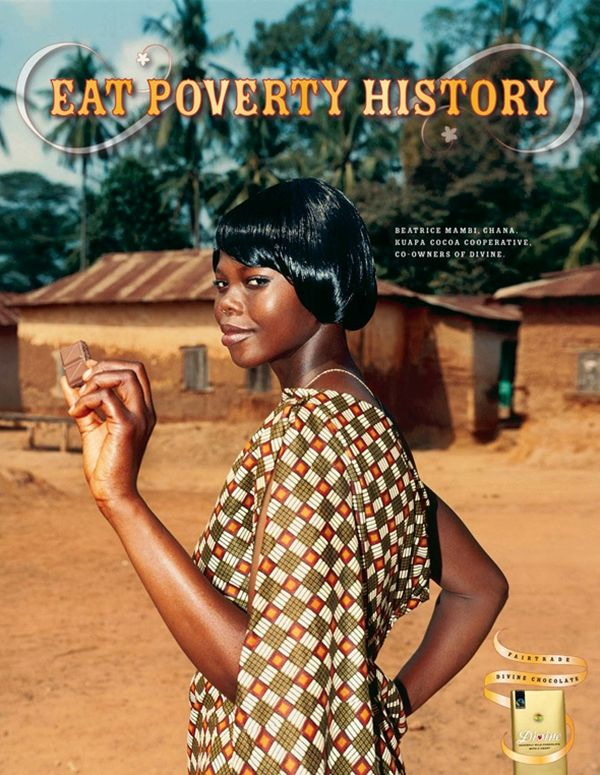 A print ad for #DivineChocolate. #Divine is a fair trade chocolate brand owned 45% by ‪#‎Africa‬'s most successful cooperative, Kuapa Kokoo.  Find more: http://impressivemagazine.com/2013/07/24/divine-chocolate-with-social-flavour/