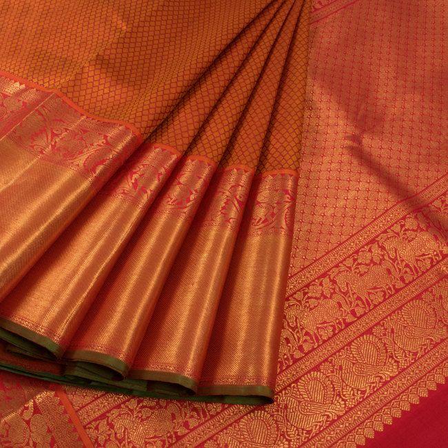 Handwoven Orange Jacquard Kanchipuram Silk Saree With Hamsa & Horse Border 10012955 - profile1 - AVISHYA.COM