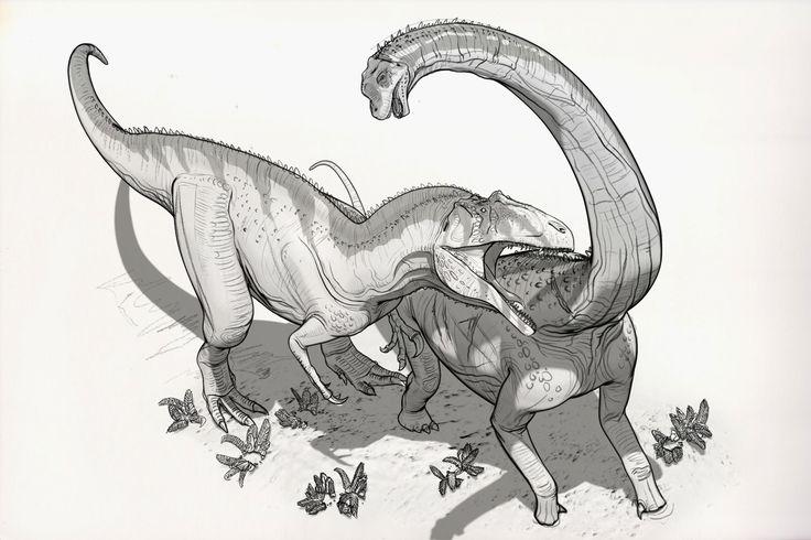 Draw Dinovember Day 10 Acrocanthosaurus & Sauroposeidon, Raul Ramos on ArtStation at https://www.artstation.com/artwork/xdVJr