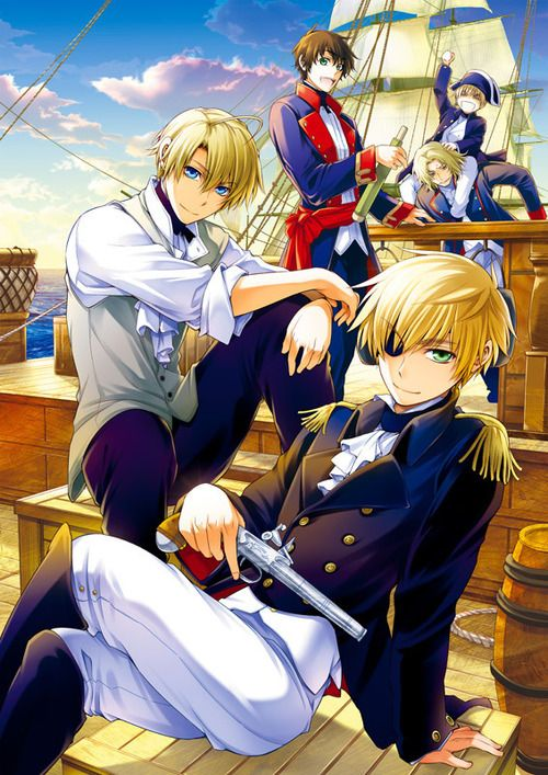 Hetalia ~~~ Pirates One and All!  England, America, Spain, France, and Sealand.