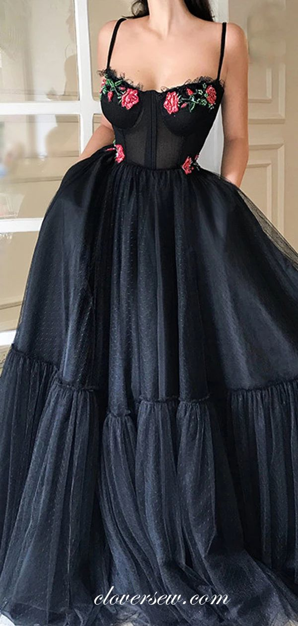 Black Tulle Floral Appliques Spaghetti Strap A-Linie Abendkleider, CP0020 – prom gown