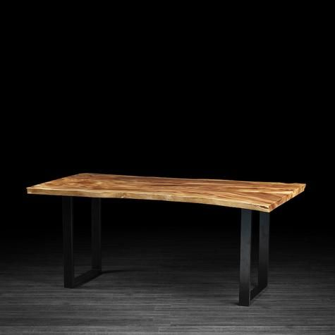 "Freeform Dining Table, Suar Wood w/ metal legs; 94"" L X 44"" W , by Artemano. This company is in Toronto, sold through Houzz, table is in stock. They ship to CA."