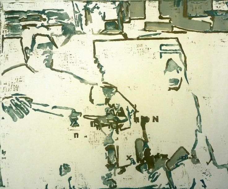 Giorgos Papadatos,  The discussion, 2005  Handmade linocut 3 matrix color 40x50 cm Edition 15