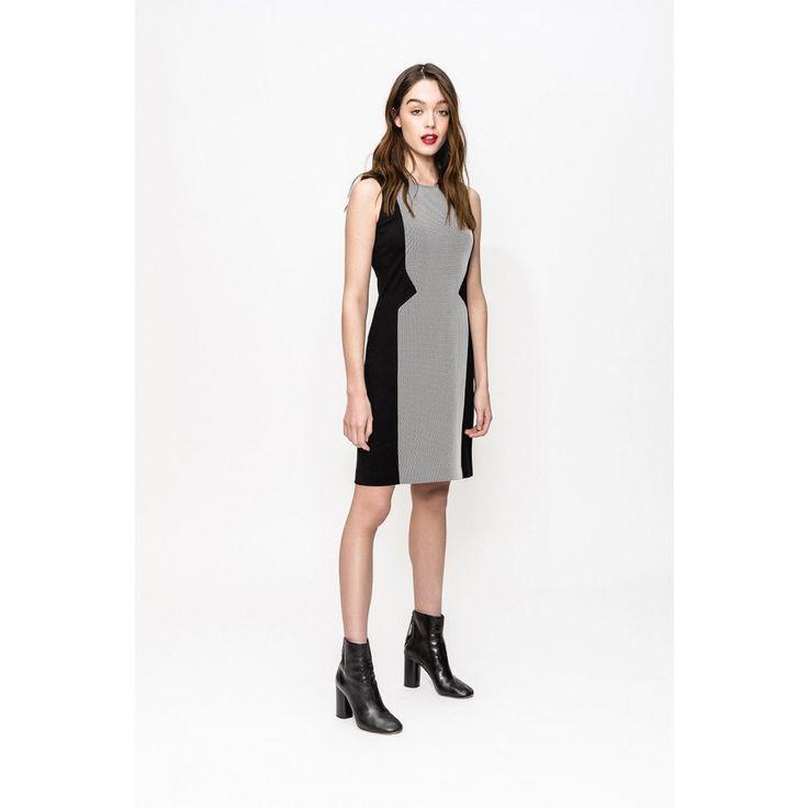 Bi-material fishnet dress spitalfield reglisse/ecru woman -