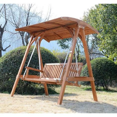 Outsunny 3 Seater Larch Wood Wooden Garden Swing Chair Seat Hammock Bench Lounger FSC certificated Wood