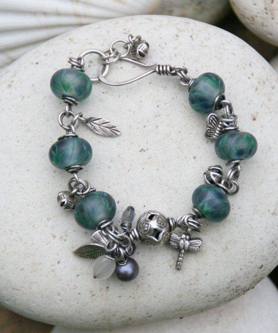 Bracelet sterling silver wire wrapped lampwork by silveralchemy, $90.00