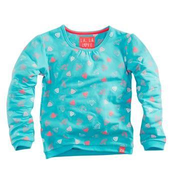 Z8 sweater, model Jasmijn, met een all over diamantjes print. Deze comfy sweat heeft een ronde hals. Groen dessin - NummerZestien.eu