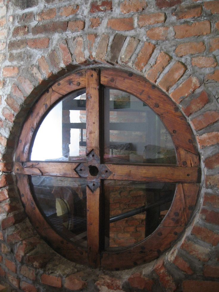 Wooden wheel from an old water mill, that we've used to make a window