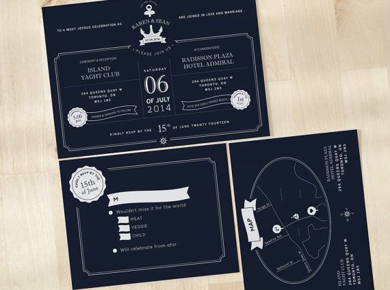 "Dark, and classy ""Nautical"" wedding invite set - comes with a custom map!"