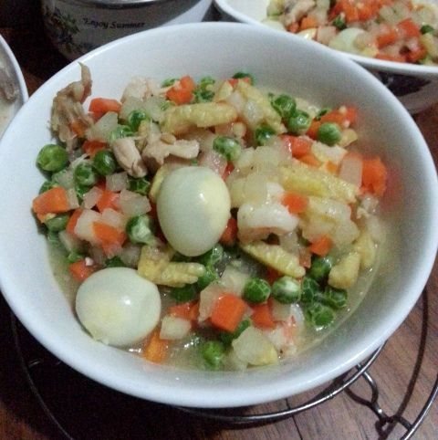 mixed vegetables with quail eggs recipe -- check it out at the kitchen invader blog  #vegetabledish #recipes #food