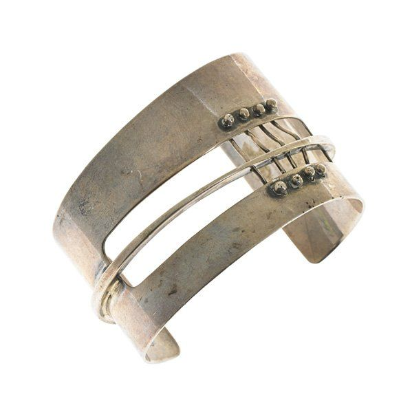 Ed Wiener: Sterling silver cuff bracelet with corset strapping