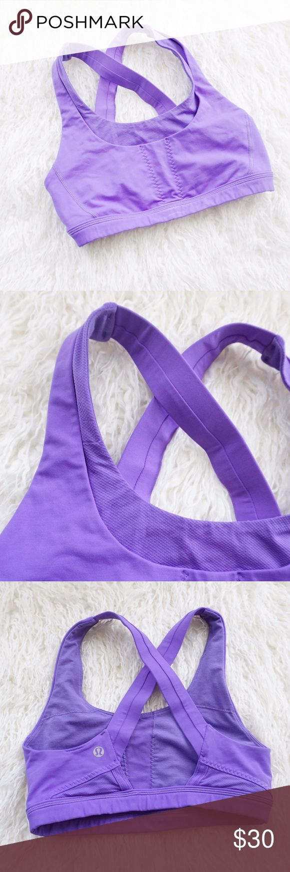 Lululemon Cross Back Purple Sports Bra Lululemon cross back Sports Bra size 4. More full coverage, better for higher intensity workouts or runs. Purple color that is great for spring!  Does not include pads. In excellent condition with no stains rips or tears. lululemon athletica Intimates & Sleepwear Bras