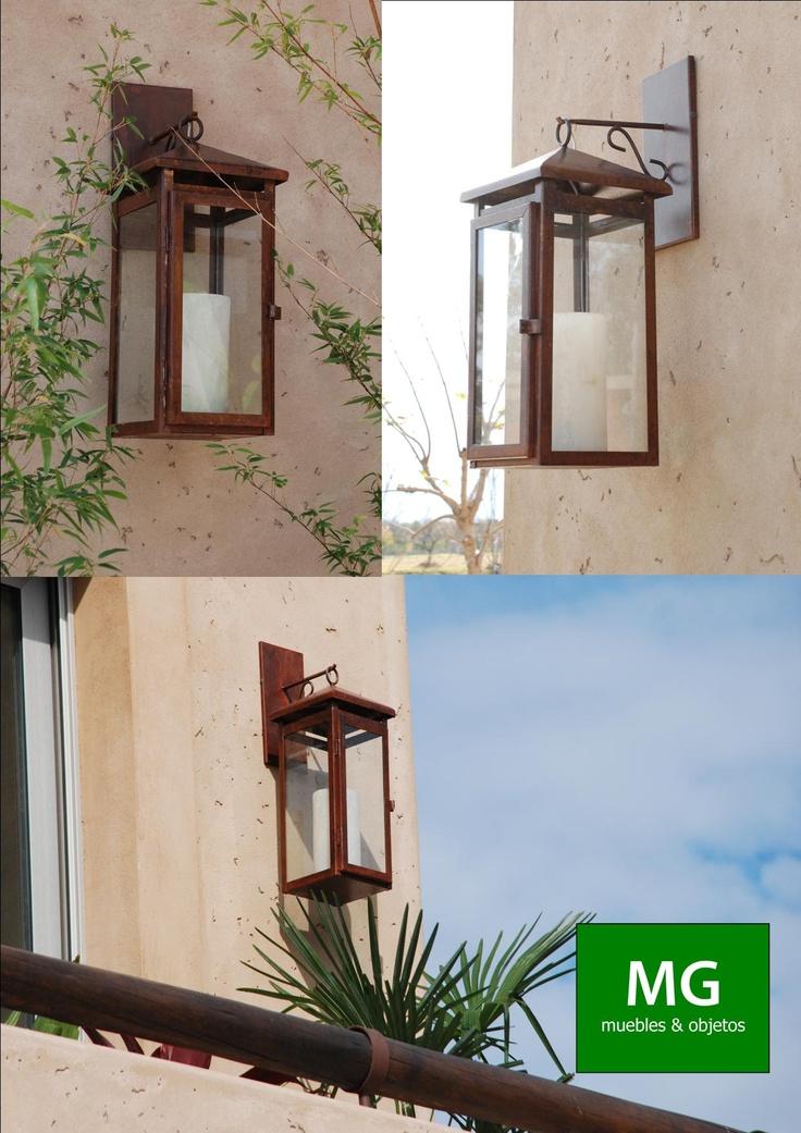 Farol de hierro con fanal de resina l mparas pinterest for Sofa exterior hierro