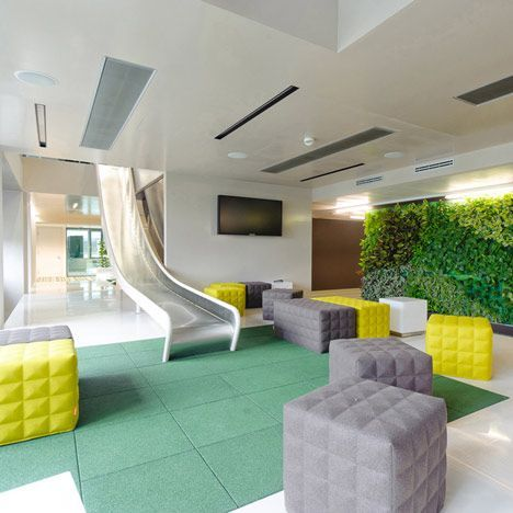 This is what I'm talking about...Microsoft joined Google and Lego in the trend for offices like playgrounds with their new Vienna base that includes a slide.....how much work would I get done playing on that slide?....LOL