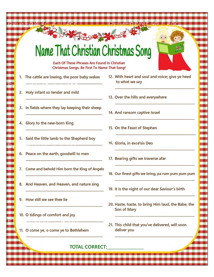 Christmas Song Game Christian Christmas Carol Game