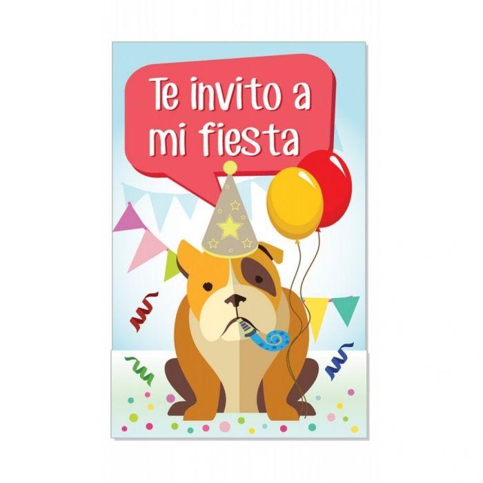 Graciosa invitación con un perro rodeado de confeti y con un matasuegras en el hocico