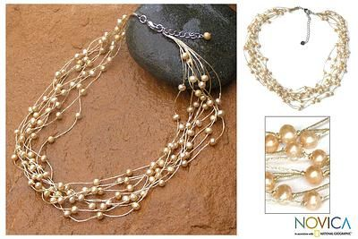Pearl Strand Necklace Handmade in Thailand - Golden Web of Beauty | NOVICA