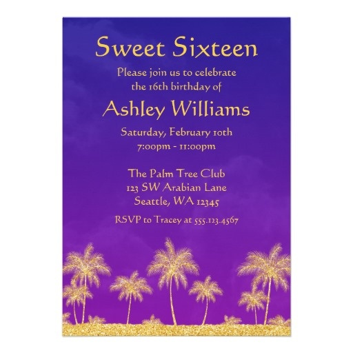 Arabian Nights Sweet 16 Birthday Party Invitation