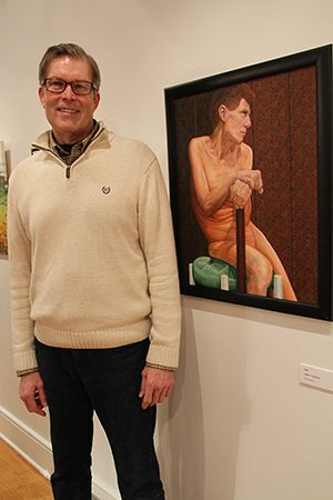"""Joseph Dougherty, of Pennington, with """"Stick,""""  one of three Honorable Mentions during the Mercer County Artists 2016 exhibit at The Gallery at Mercer."""