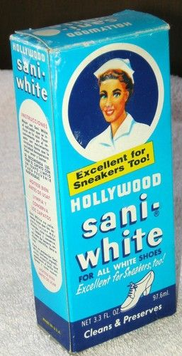 Hollywood Sani-White Shoe Polish. My mother was an RN, and she used it for her nurse shoes.