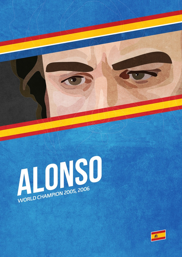 'Alonso' poster from the Grand Prix Champions series. #F1 #Alonso