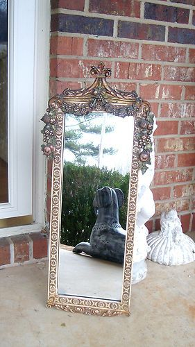 Antique Wood Gesso Victorian Mirror Barbola Fruit Leaves
