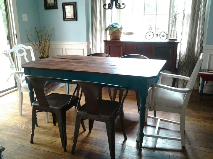 Blue Farm Table And White Arm Chairs Painted With Homemade